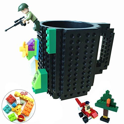 Build-On Brick Mug DIY Coffee Cup Creative Building Blocks for Coffee Tea Beverage Funny Xmas Birthday Gift (Cool Black)