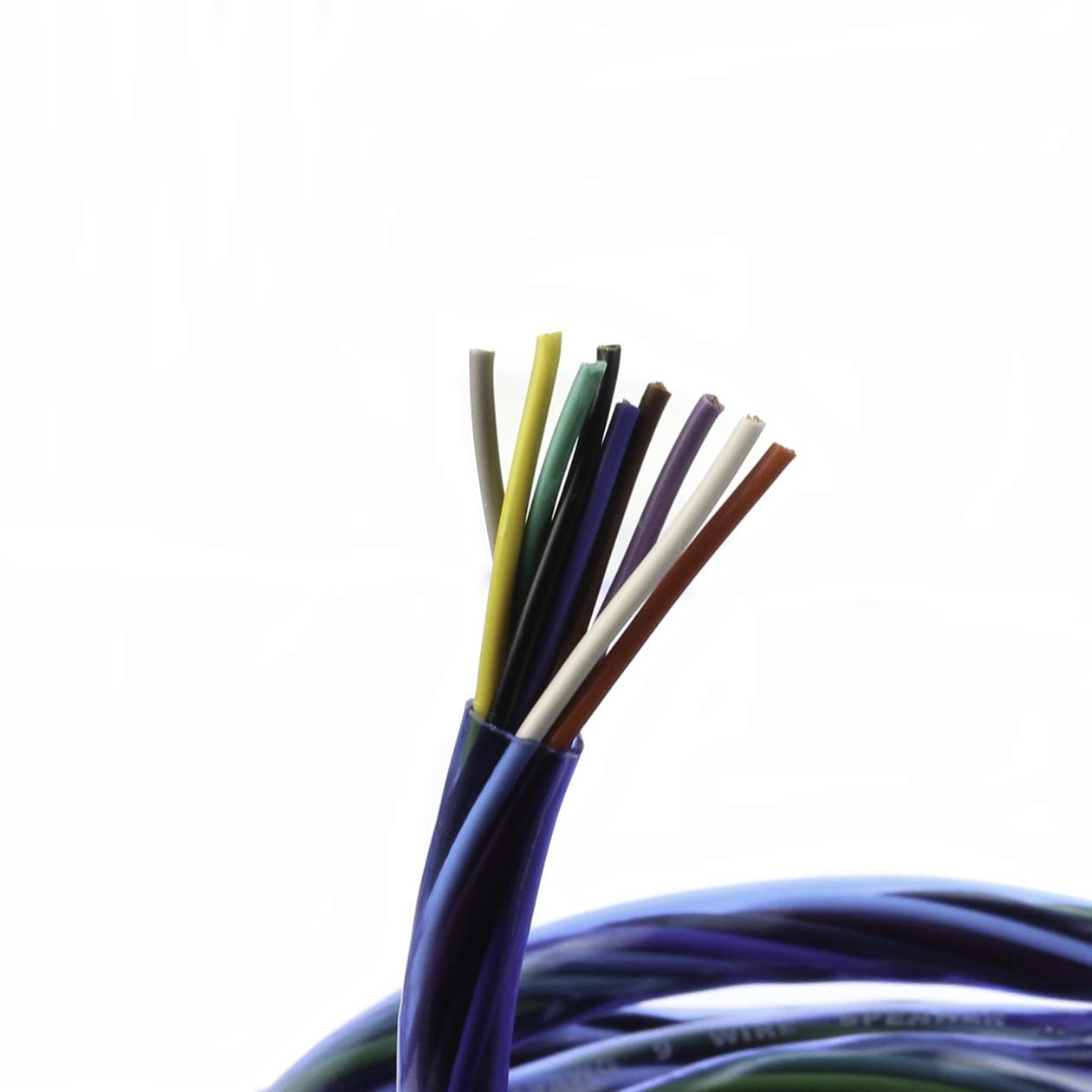 25 FT VOODOO 18 AWG Gauge 9 Conductor Speed Blue Wire Speaker Trailer Copper Stranded