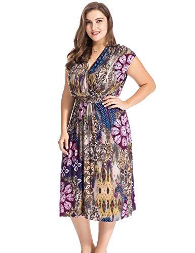Chicwe Vestido con Cinturón Tallas Grandes Mujeres Estampado Floral Mangas del Casquillo EU44-58: Amazon.es: Ropa y accesorios