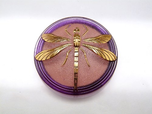 - Hand Made Art Czech Glass Button Cabochon Crystal whith Pink-Purple painted reverse side, Gold Dragonfly (without brass eyelet) size 18, 40.5mm 1 pc