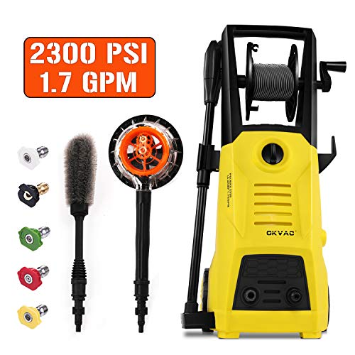 OKVAC Pressure Washer, Electric Power Washer, Pressure Cleaner Machine, Car Washer, 2300 PSI 1.76 GPM Electric Power Washer with Spray Gun, 30ft High Pressure Hose