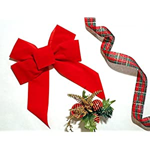 Rocky Mountain Goods Red Bow - Christmas Wreath Bow - Great for Large Gifts - Indoor/Outdoor use - Hand Tied in USA - Waterproof Velvet - Attachment tie Included for Easy Hanging 61