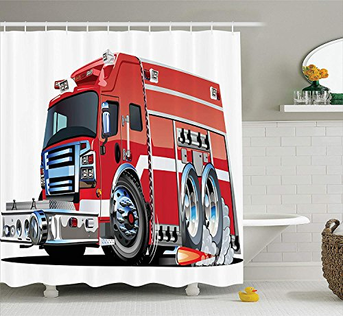 Cars Decor Shower Curtain Set Big Fire Truck with Emergency Equipments Universal Safety Rescue Team Engine Cartoon Print Bathroom Accessories Extralong Red Silver 36