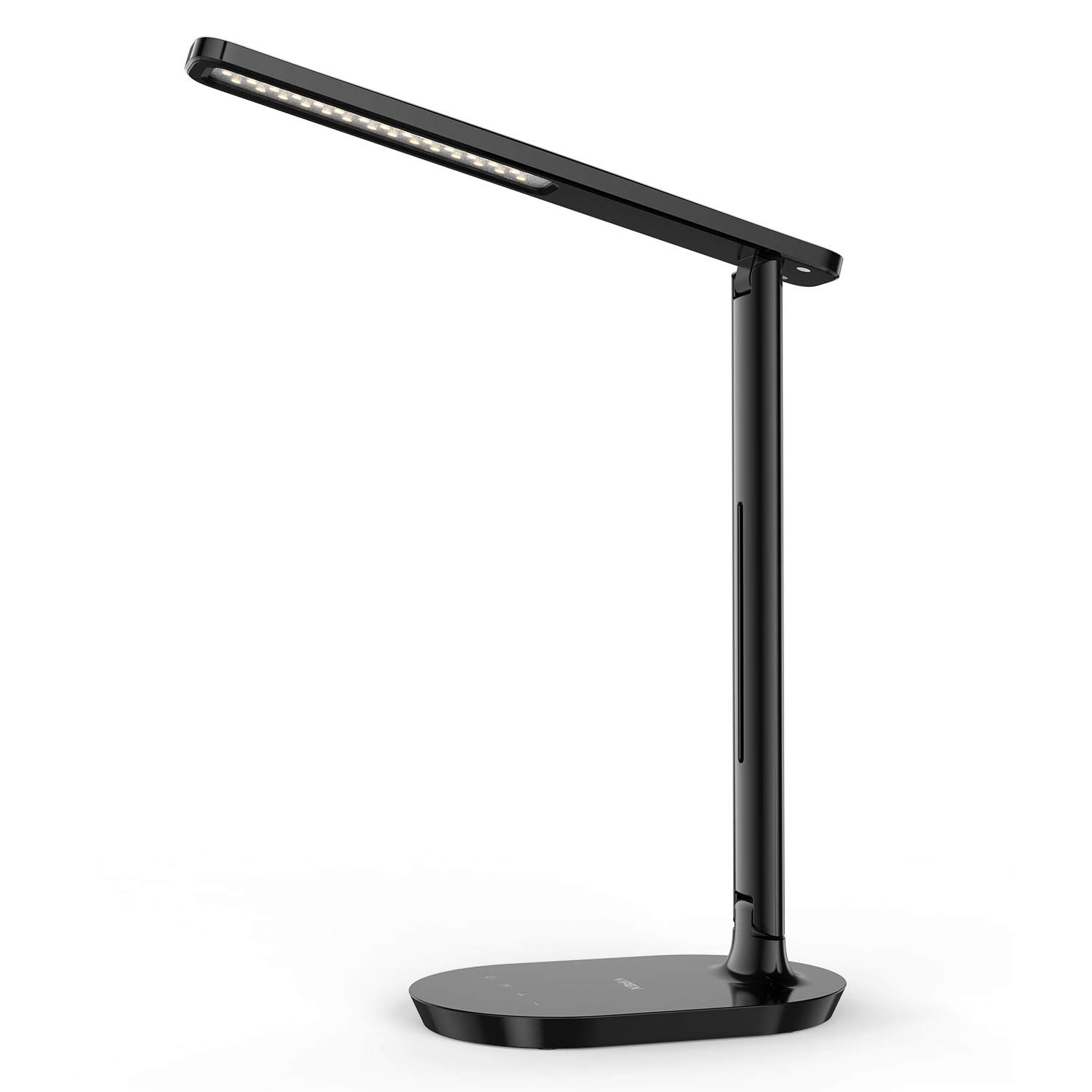 LED Desk Lamp - Dimmable Table Lamp with Eye-Caring Ideal for Reading, Studying, Working, Foldable Office Task Light, 3 Color Modes with 5 Brightness Levels, Touch Control, Memory Function, Black