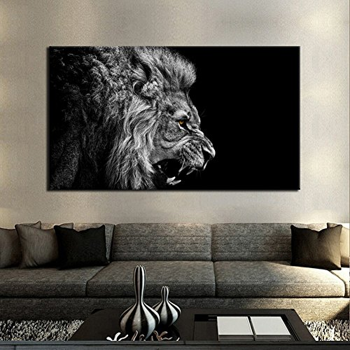 Wall Art Painting Black And White Roar Lion Pictures Prints On Canvas Animal The Picture Decor Oil For Home Modern Decoration Print For Living Bathroom Home - No Ross Rick Glasses