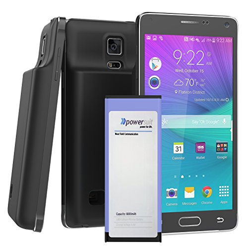 Note 4 MEGA Extended Battery & Door (3.85 Lithium Polymer) for Samsung Galaxy NOTE 4 (by PowerSuit) (Black)