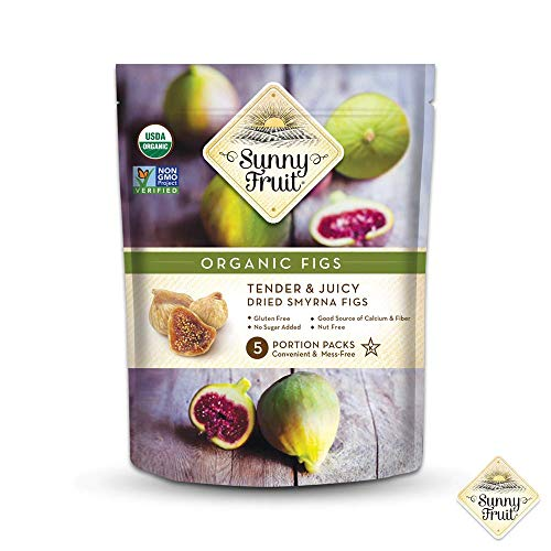 (ORGANIC Turkish Dried Figs - Sunny Fruit - (5) 1.76oz Portion Packs per Bag | Purely Figs - NO Added Sugars, Sulfurs or Preservatives | NON-GMO, VEGAN, HALAL &)