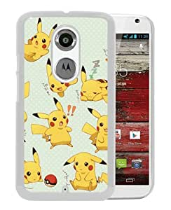 Pokemon Popular Cute and Funny Pikachu 10 White Moto X 2nd Generation Screen Phone Case Nice and Genuine Design