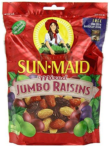 Sun Maid Mixed Jumbo Raisins, 12-Ounce Pouches (Pack of 5) -