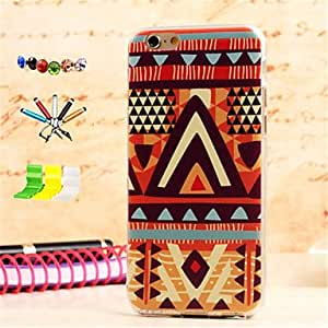 LCJ Blue Triangle Pattern TPU Material with Stylus Anti-Dust Plug and Stand Portfolio for iPhone 6