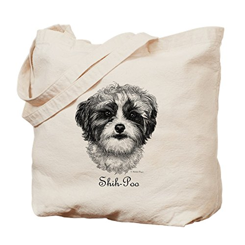 (CafePress Shih Poo Natural Canvas Tote Bag, Cloth Shopping Bag)
