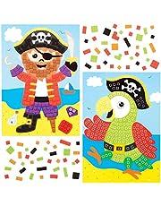 Baker Ross AT676 mozaika piracka, zestaw 4 sztuk, dla dzieci do projektów artystycznych i rzemieślniczych