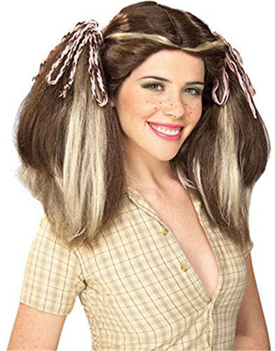 Farm Girl Costumes For Adults (Brown Country Farm Girl Costume Wig With Blonde Streaks)