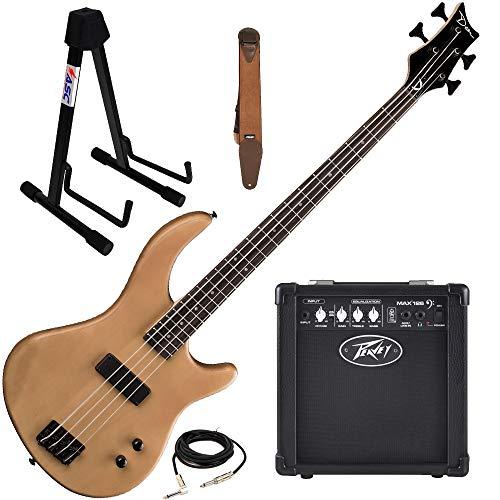 Dean Edge 09 Satin Natural Bass Guitar, Peavey Max 126 Amp, Suede Strap, St&