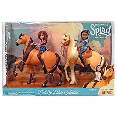 Spirit Riding Free Classic Series Doll & Horse Collection PRU & Chica Linda with Lucky Figure Set: Toys & Games