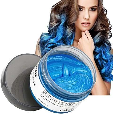 MOFAJANG Natural Hair Wax Color Styling Cream Mud, Natural Hairstyle Dye Pomade, Temporary Hairstyle Cream 4.23 oz, Hairstyle Wax for Men and Women (Blue)