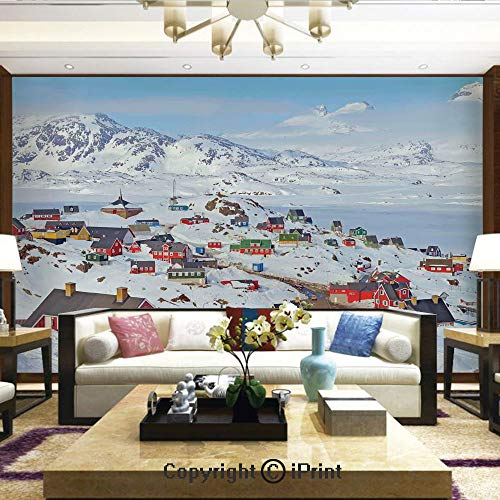 Lionpapa_mural Wall Decoration Designs for Bedroom,Kitchen,Self-AdhesiveSnowy Greenland North Scandinavian Peaceful Frozen Winter Nordic Idyllic Image Decorative,Home Decor - 66x96 inches