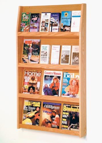 Wooden Mallet LD49-24 ''Slope'' Wall Magazine Rack (up to 12 magazines) & Brochure Holder (up to 24 brochures) in Light Oak from ABC Office by Wooden Mallet