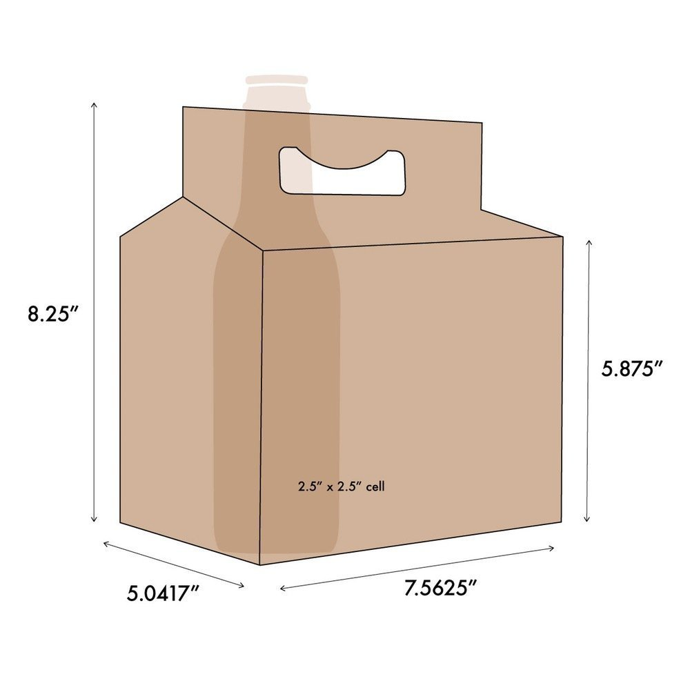 6 Pack Cardboard Beer Bottle Carrier For 12 Ounce Bottles Kraft (24 Count)