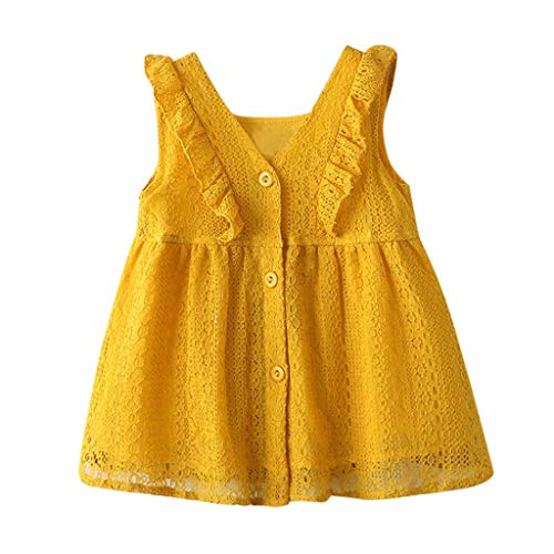 Waymine Infant Baby Girl Sleeveless Lace Ruffles Buttoned Party Princess Dresses