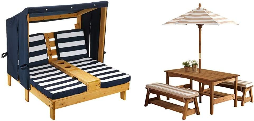 KidKraft Outdoor Double Chaise Lounge, Honey/Navy/White, One Size & 00 Outdoor Table and Bench Set with Cushions and Umbrella, Espresso with Oatmeal and White Striped Fabric