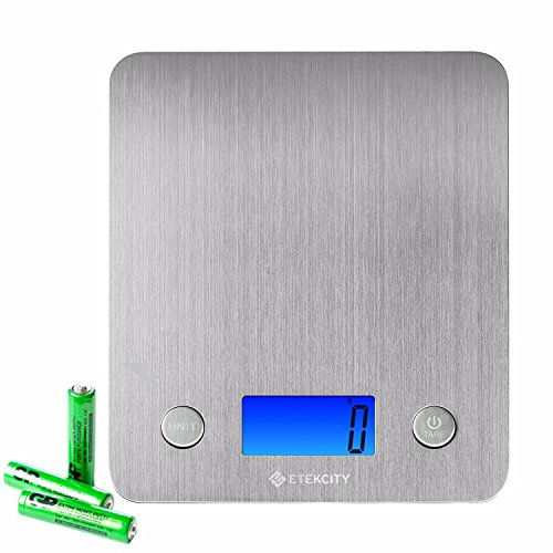 Etekcity Digital Kitchen Scale Multifunction Food Scale with 30% Wider Stainless Steel Platform 11lb 5kg, 3 GP Batteries Included (Stainless Steel)
