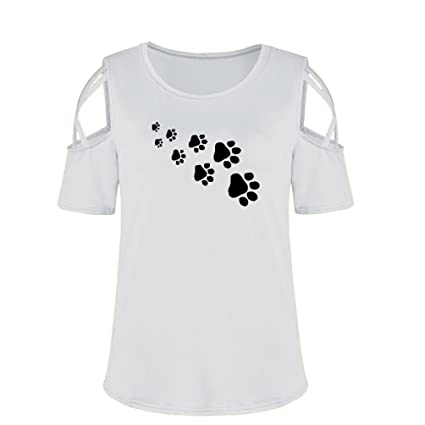 9bf2a131c842 MOSE Dog Paw Print Cute Loose T-Shirt Summer Short Sleeve Print StrHappy  Cold Shoulder T-Shirt Tops Blouses Large Gray: Amazon.in: Home & Kitchen