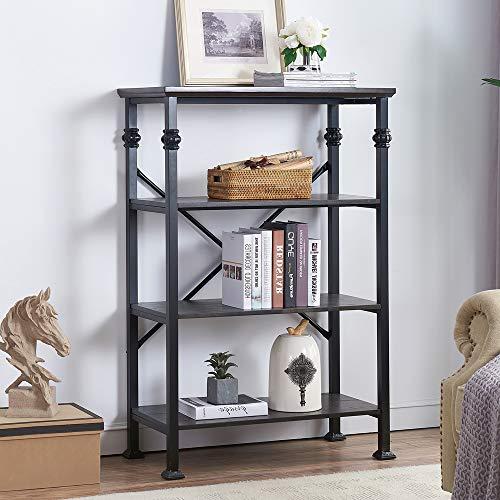 O&K Furniture 4-Tier Vintage Industrial Style Bookshelf, Wood and Metal Bookcase Storage Shelves, Black-Espresso