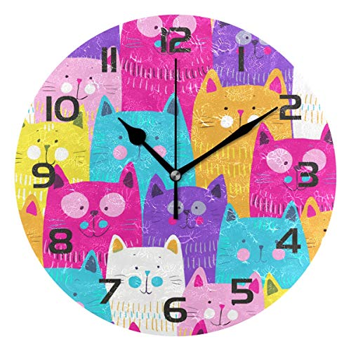 TropicalLife Cute Cat Decorative Wall Clock Acrylic Round Clocks Non Ticking Art Decor Bedroom Living Room Kitchen Bathroom Office ()
