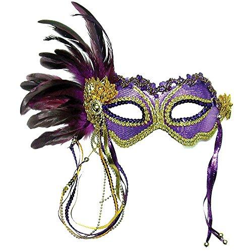 Bristol Novelty EM322 Metallic Eye Mask with Side Feather, Purple, One -