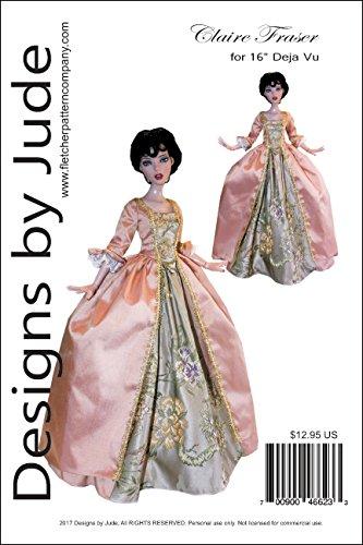 """Outlander Claire Fraser Dress Printed Sewing Pattern for 16"""" Deja Vu Dolls Tonner"""