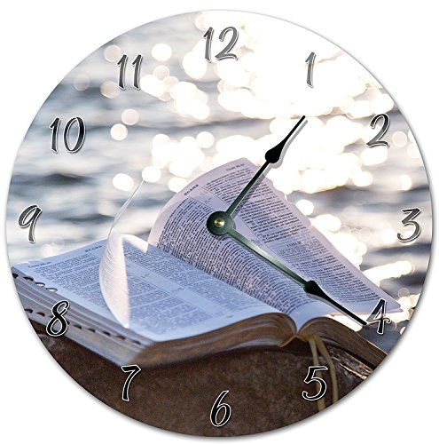 OliveLewis 12'' Vintage The Holy Bible On The Rock Clock Wooden Decorative Round Wall Clock by OliveLewis