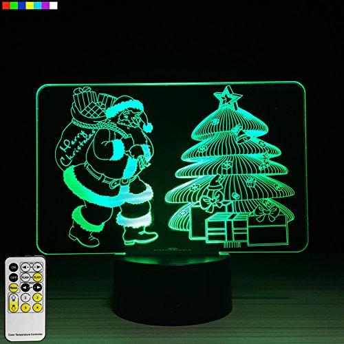 Christmas Lights Christmas Tree and Christmas Santa 3D Night Light 7 Colors Change with Remote A Great Christmas Gifts for Kids by Easuntec (Christmas Tree & Santa)