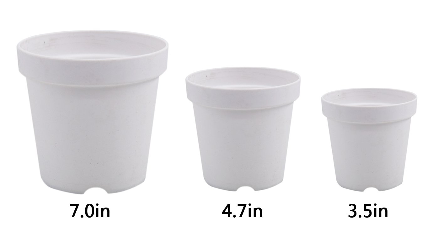 coisound 1688 3Pcs Premium Plastic Nursery Planter Pot Container for Balcony Vegetables Basin Grow or Indoor/Outdoor Garden Pots (3Pcs Plant Pots - Each of one is 3.5in,4.7in,7.0in) (White)