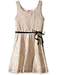 Big Girls' All Over Shimmer Lace Dress with Ribbon