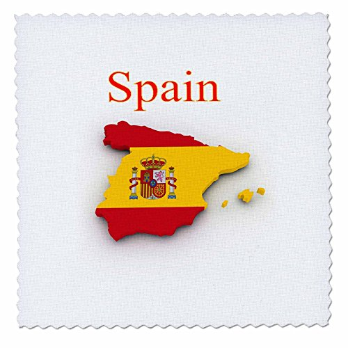 3D Rose Image of Exotic Spain Map and Seal in Flag Colors Quilt Square, 8 x 8 by 3dRose