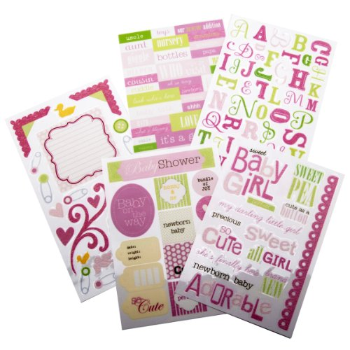 me & my BIG ideas Glitter Sticker Flip Value Pack, Sweet Baby Girl (Girl Stickers Glitter)