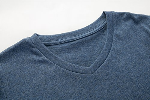 UNACOO 2 Packs 100% Cotton Short-Sleeve V-Neck T-Shirt for Boys and Girls(red+Hemp Blue, m(7-8T)) by UNACOO (Image #5)