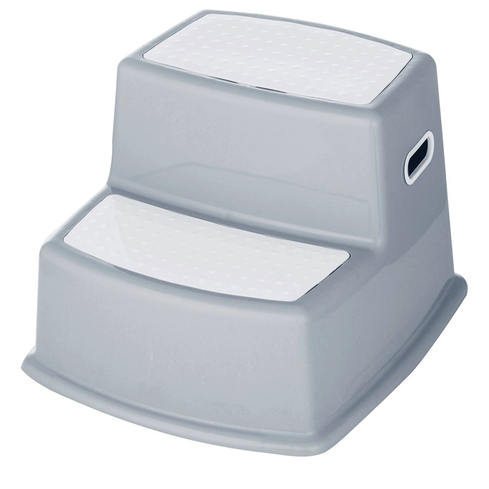 Elsaree Premium Dual Height Grey Step Stool for Kids | Anti-Slip Rubber Feet for Potty Training | Helps Toddlers of All Ages Reach the Toilet, Bathroom & Kitchen Sink | Sturdy & Safe Nonslip Surfaces