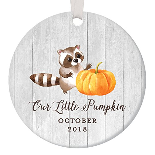 October Baby 2018 Christmas Ornament Our Little Pumpkin Newborn Boy Girl Autumn Infant Son Daughter Holiday Ceramic Keepsake Present to Parents 3