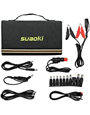 SUAOKI 60W Foldable Solar Charger with SunPower Panels, Dual Output (5V USB + 12V-18V DC) for Portable Power Generator, Smartphone, Laptop, Tablet and Car Battery