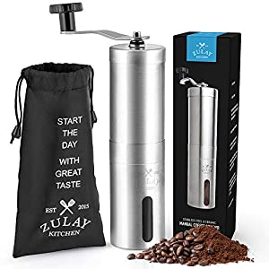 Zulay Stainless Steel Manual Burr Coffee Grinder - Adjustable Manual Coffee Bean Grinder With Ceramic Burr Blades - Detachable Hand Crank Coffee Grinder For Portable Espresso, Drip Coffee, Turkish Brew, French Press, Aeropress by Zulay Kitchen