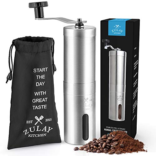 Zulay Stainless Steel Manual Burr Coffee Grinder - Adjustable Manual Coffee Bean Grinder With Ceramic Burr Blades - Detachable Hand Crank Coffee Grinder For Portable Espresso, Drip Coffee, Turkish Brew, French Press, Aeropress
