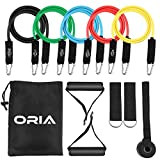11 in 1 Resistance Bands Set, Exercise Loop Bands, 5 Exercise Bands, Sweatproof Bands Set with Handles, Door Anchor, Ankle Straps & Carry Bag for Workout, Sports, Outdoors, Training Programs