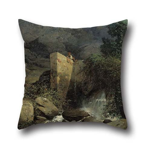 Oil Painting Josep Armet - A Country. Memory Of The Pyrenees. Pillow (Group Home Theater Seating)