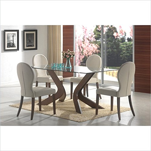 GLASS TOP DINING TABLE, F/WLN,70.7x35x30 (Glass Dining Table Set For 6)