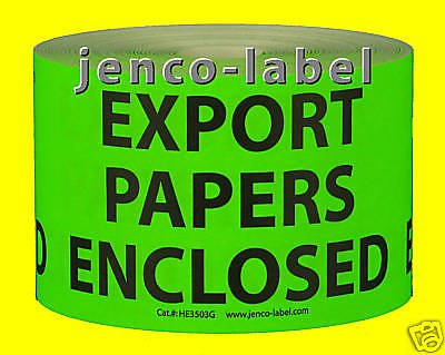 Jenco-Label HE3503G, 500 3x5 Export Papers Enclosed Enclosed Label