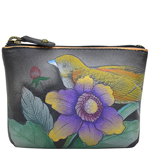 Anuschka Women's Genuine Leather Coin Pouch | Hand Painted Original Artwork | Vintage Bouquet ()