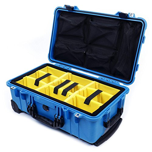 Pelican Blue & Black 1510 with Yellow Padded Dividers and 1519 Lid organizer.