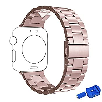 Apple Watch Band, Aokay Solid Stainless Steel Metal Replacement Band with Size Remover for Apple Watch Series 2 Series 1 38mm, Rose Gold